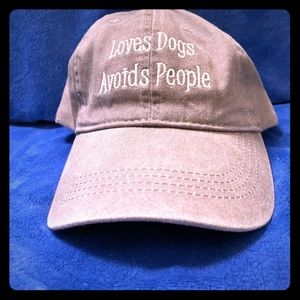 "Distressed Grey Hat ""Loves dogs, avoids people"""
